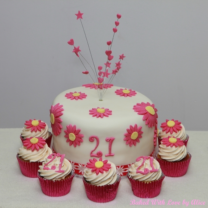 21st Birthday Pink Daisy Cake And Cupcakes Baked With