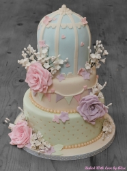 Three tier wedding cake pastel colours
