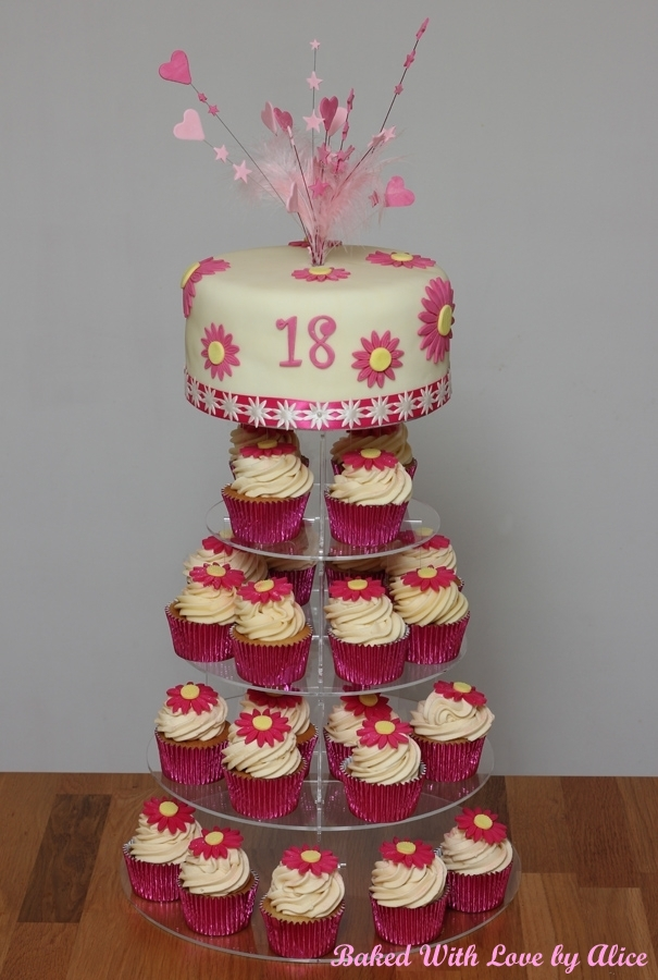 Pink Daisy 18th Birthday Cake And Cupcakes Baked With