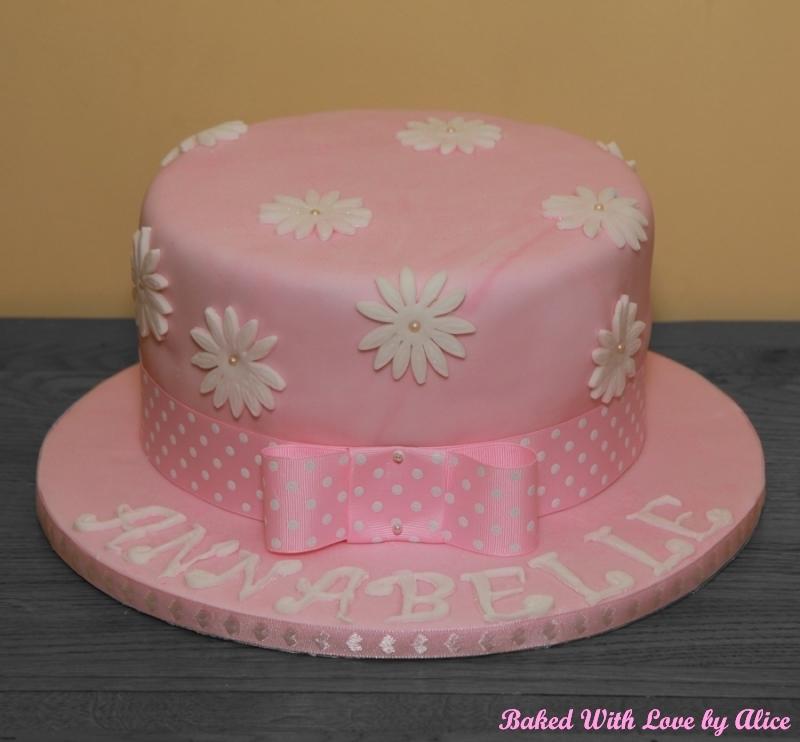 Pink White Daisy Cake