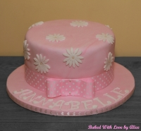 Pink Birthday Cake With White Daisies - Baked With Love by ...