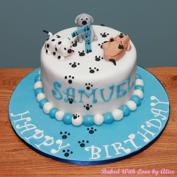 Puppies And Paw Prints 1st Birthday Cake